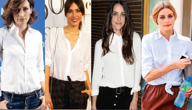 Camisas blancas bellas, elegantes y casuales