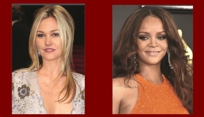 ¿Ves la luminosidad de Julia Stiles?...    Este tono marrón cálido favorece mucho a Rihanna  y le da un aire muy natura