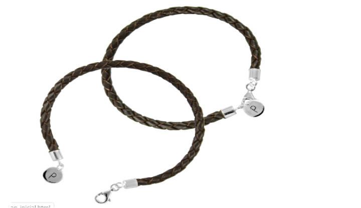 Pulsera de cuero trenzado con medalla slim de plata