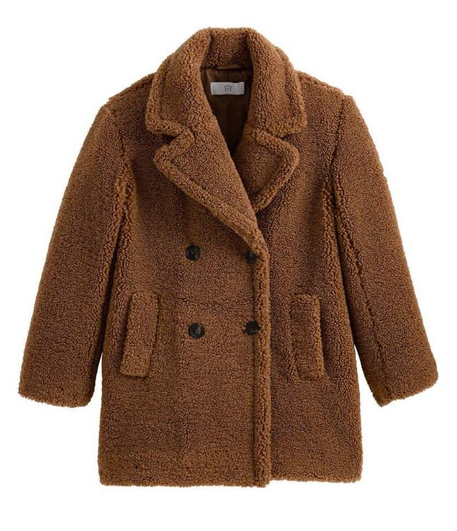 Abrigo cruzado de color marrón