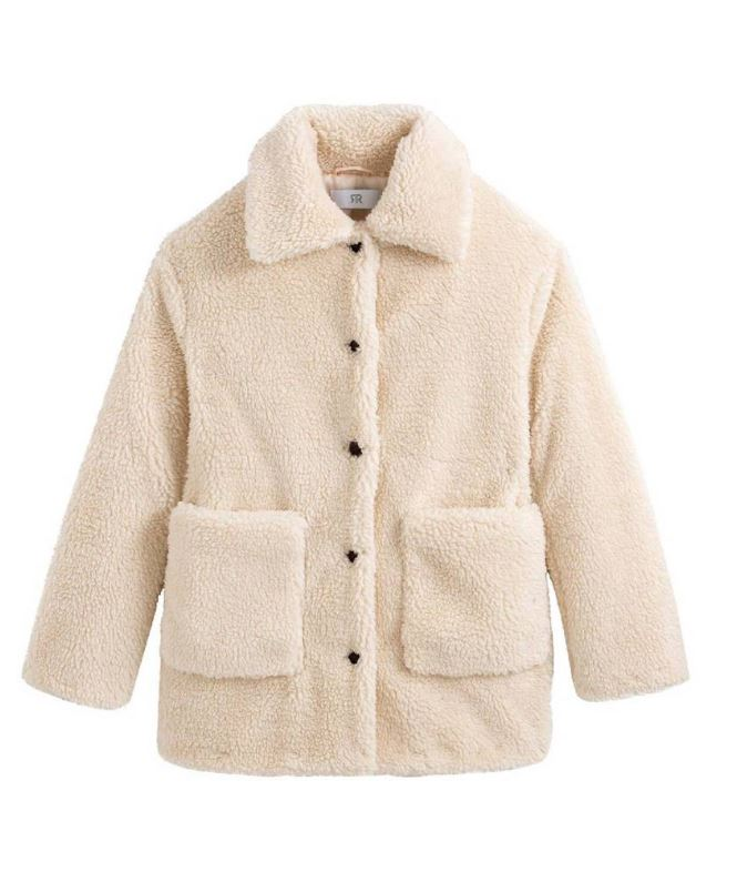 Abrigo con botones de piel sintético