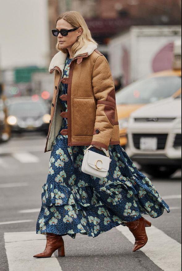 Cómo vestir bien cuando hace frío: vestidos largos