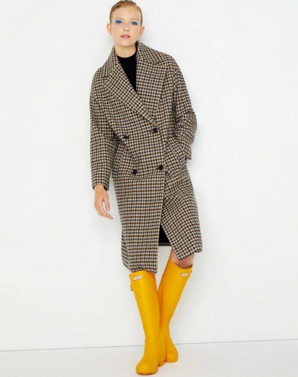 Abrigo oversize de pata de gallo